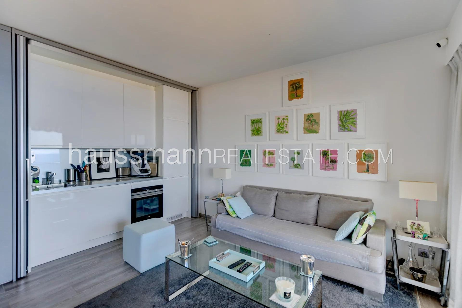 Buying Apartment Beaulieu-sur-Mer near beaches, top floor one bedroom apartment with panoramic sea view